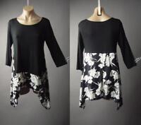 Sale Black Floral Print 90s Grunge Handkerchief Trapeze Top 188 mv Shirt S M L