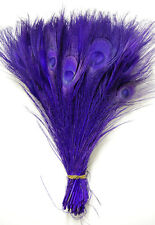 """15 Pcs BLEACHED PEACOCK TAILS - PURPLE Feathers 10-12""""; Crafts/Halloween/Art"""
