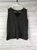 Eileen Fisher Womens Knit Tank Top Size Large Black Gold Metallic Holiday