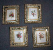 Vintage 1940's set of 4 mirror frame flower prints app 7 x 8 in super decor