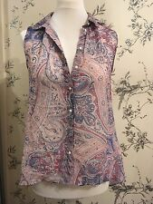 H&M sleeveless summer Paisley Print Blue, Pink & Red blouse Top size 36 UK 8