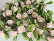 100 Small Satin Ribbon Rose Flower Applique/trim/bow/Green leaf F32-Light Pink