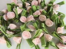 100 Small Satin Ribbon Rose Flower Applique/trim/bow/Green leaf F32-Light Pink