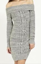 BNWT🌹Lipsy🌹Size 8 Cable Bardot Knitted Dress Tunic Monochrome Black White New