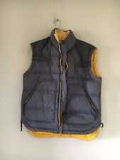 DIESEL Men Winter Puffer Down Padded Jacket Coat Zip Up Vest Gray Yellow Size L
