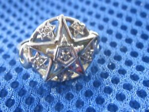 Old 10K Solid Gold  Order of the Eastern Star Fraternal Diamond Ladies Ring