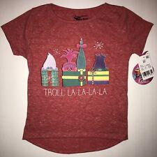 NWT Trolls Girls' Christmas Shirt Size 5T Troll La-La-La-La Gifts Heathered Red