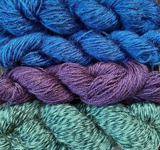 Mohair and wool yarn sport weight, 4 skeins, 500 yards, teal, plum and green