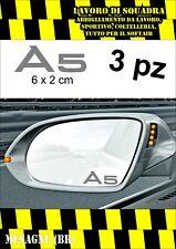 KIT 3 ADESIVI AUDI A5 SPECCHIETTO INTERNO AUTO ARGENTO SILVER 6 X 2 CM