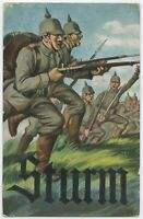 Sturm Attack Soldiers Pickelhaube Patriotic German WW1 Postcard (145)