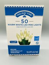 Holiday Time Warm White 50 LED Mini Lights String Set Indoor/ Outdoor - NIB