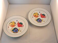 "GARDEN TEA PARTY PLATES 8"" ""NEW"" SET OF 2 BY SIGNATURE - STONE WARE"