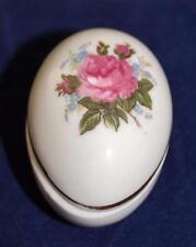 "Vintage Shackman - Pink Rose - 2 1/8"" Egg Shape - Trinket, Pin, Pill Box"
