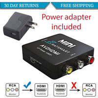 RCA to HDMI Converter Video Adapter 720p 1080p +Wall Power Supply  Wii, NES SNES