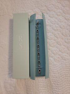 Ross Simons Sterling Silver Sapphire Diamond Chip Tennis Bracelet w/Pouch