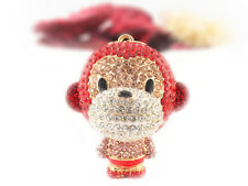 Year of the Monkey Red Keychain Crystal Charm Cute Animal Purse Gift 01297A