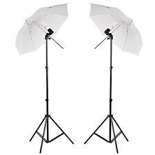 2 X Photo Studio Photography Continuous Lamp Light White Soft Umbrella Kit UK