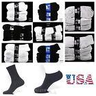 12 Pairs Lot Men 9-11,10-13 Athletic Sports Crew Ankle Socks White Black Gray