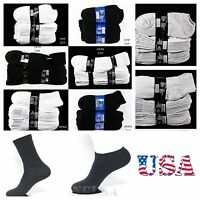 Mens Women 4 6 12 Pairs Lot 9-11,10-13 Athletic Sport Crew Ankle Socks White Bk