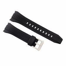 26MM RUBBER WATCH BAND STRAP FOR SEIKO VELATURA KINETIC 7T62 BLACK + BUCKLE T/Q