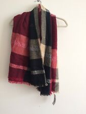 Women's Scarf Plaid Striped Wrap Reversible Double Sided Long Wide Oversized