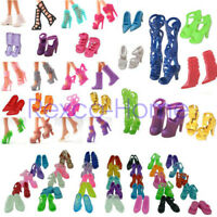 10Pairs Mixed Style Barbie Dolls Princess Gown Dress Clothes Heels Sandals Shoes