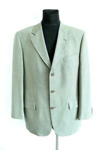 Marks & Spencer Green Houndstooth Pattern Pure Wool Men Suit Jacket Size XL