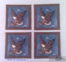 """Mug Rug Coasters American Eagle 4"""" By 4"""" Handmade Quilted Set Of 4 100% Cotton"""