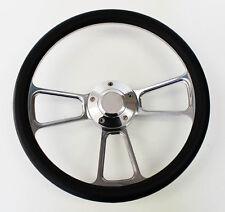 "67 68 Pontiac GTO Firebird Steering Wheel Black and Billet 14"" Shallow Dish"