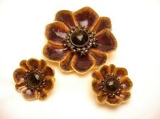 Alana Stewart Set Flower Brooch Earrings Vintage Enamel