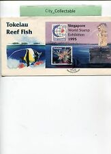 1995 TOKELAU RED FIRE FISH M/S FDC OVPT S'PORE 95 STAMP EXH.  # T151
