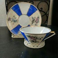 LIMOGES* 2pc Set CHINA Off-White+Blue+Purple+Gold CUP+SAUCER France FLORAL #850