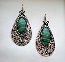 LARGE Vintage Russian Russia Sterling Silver Malachite Dangle Filigree Earrings