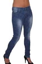 Womens Super Ultra Low Rise Skinny Floral Denim Jeans Blue 8-10 CLEARANCE