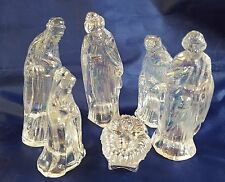 Nativity Set Figures Glass Clear Iridescent Rainbow Jesus Joseph Mary Wise Men