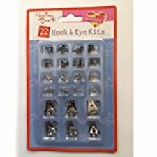 Hook & Eye Fastners Black & Silver Assorted 22 Mix Size Home Sewing Pack Kit New