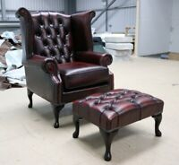 GEORGIAN CHESTERFIELD QUEEN ANNE HIGH BACK WING CHAIR RED LEATHER FOOTSTOOL