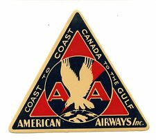 Vintage Airline Luggage Label AMERICAN AIRWAYS triangle eagle logo Canada toGulf