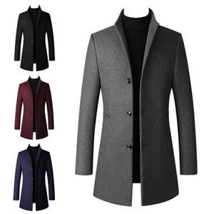 Men Winter Warm Wool Trench Coat Outwear Peacoat Overcoat Single-Breasted Jacket