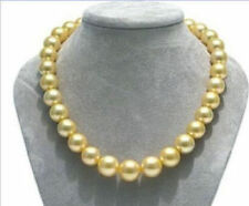 "11-12 mm Natural round south sea golden pearl necklace 18""14K Gold"