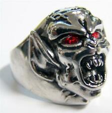 DEMON MONSTER RED EYES STAINLESS STEEL RING size 14 - S-544 biker  MENS womens