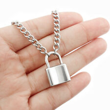 Stainless Steel PadLock Pendant Necklaces Link Chain Lock Necklace Women Girls