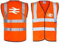 BR BRITISH RAIL INSPIRED HI VIZ VEST FRONT AND REAR PRINT BRAND NEW
