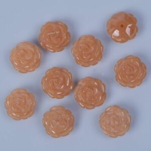 2pcs 12mm Gemstone Carved Flower Half Drilled Beads For Studs DIY Jewelry Making