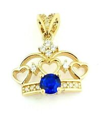 Blue Sapphire Crown Open Hearts Pendant Charm Queen King 14k Yellow Gold 0.10 CT