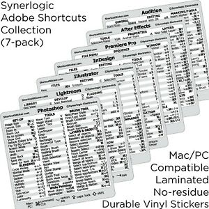 Adobe Collection 7-in-1 Reference Guide Shortcut No-residue Vinyl Sticker Mac/PC