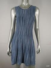 SHOSHANNA S Blue Multi Stripe Stretch Jersey Sleeveless Fit & Flare Dress EUC