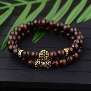 Fashion Gold Plated 8MM Tiger Eye Zircon Crown Balls Bracelets Set For Men Women