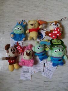 "SEGA Disney 4"" Mini Strap Plush Three eyes alien Mickey chip & dale Winnie Pooh"