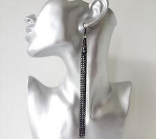 Stunning 15cm LONG black metal & filigree waterfall - chain tassel drop earrings